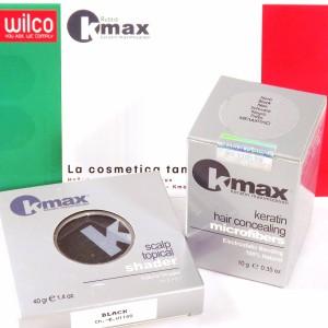 Набор для маскировки залысин и участков поредения волос на голове: пудра-камуфляж и кератиновый загуститель волос Kmax Италия